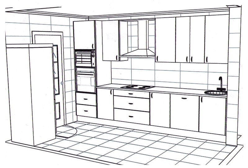 Dibujo de cocinas imagui for Diseno de muebles 3d