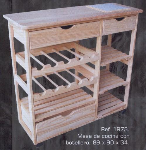 1973 mesa de cocina con botellero 1973 complementos for Muebles de pino macizo