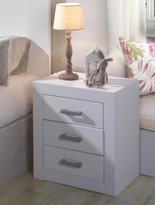 Mesita 3 cajones blanco lacado kl21300 serie kynus blanco lacado muebles dogar muebles de - Mesitas de noche en ikea ...