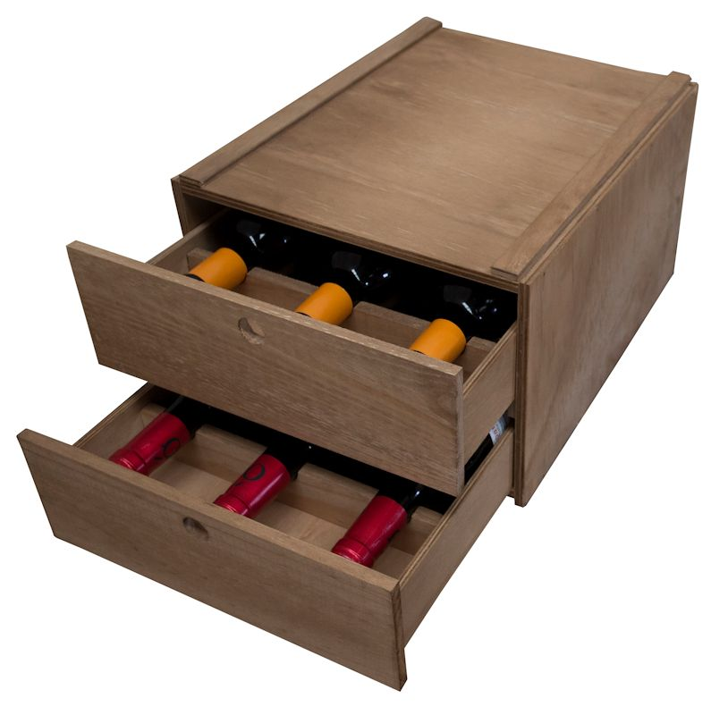 Botellero apilable modular de caja 6 botellas
