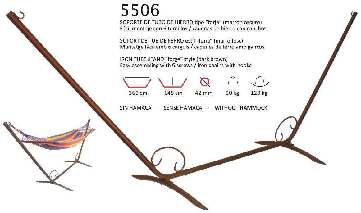 5506 soporte de tubo de hierro forja marron oscuro hamacamundi 5506 soportes y accesorios - Soporte hamacas ...